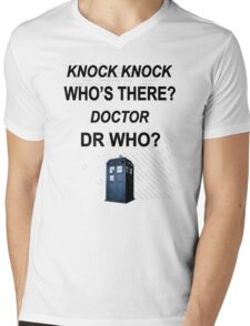knock knock dr who for light colored shirts Mens V-Neck T-Shirt