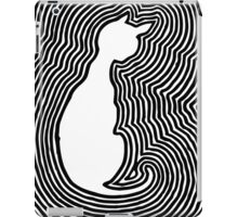 The white cat, retro vintage black and white woodcut style iPad Case/Skin