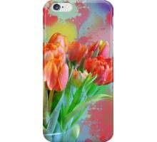 Colourful Painterly tulips on an abstract background. iPhone Case/Skin