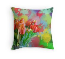 Colourful Painterly tulips on an abstract background. Throw Pillow
