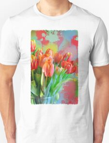 Colourful Painterly tulips on an abstract background. Unisex T-Shirt