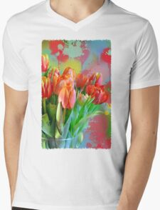 Colourful Painterly tulips on an abstract background. Mens V-Neck T-Shirt