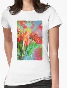 Colourful Painterly tulips on an abstract background. Womens Fitted T-Shirt