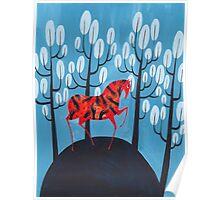 Smug red horse Poster