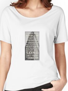 Vintage subway stations signs in New York City Flat Iron Women's Relaxed Fit T-Shirt
