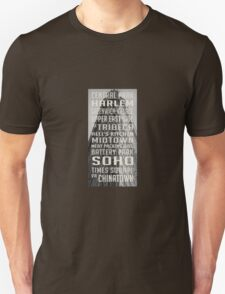 Vintage subway stations signs in New York City Flat Iron T-Shirt