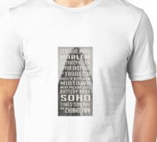 Vintage subway stations signs in New York City Flat Iron Unisex T-Shirt