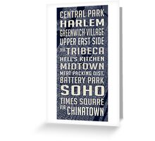 New York City Subway Stops Vintage Map 4 Greeting Card