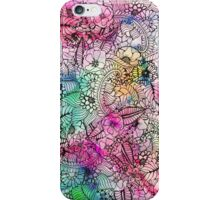Modern colorful hand drawn flowers watercolor wash iPhone Case/Skin