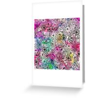 Modern colorful hand drawn flowers watercolor wash Greeting Card
