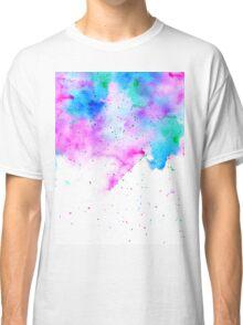 Pink blue modern watercolor brushstrokes splatters Classic T-Shirt