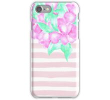Modern pink watercolor flowers stripes paint iPhone Case/Skin