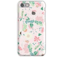 Modern pastel floral handdrawn blush pink iPhone Case/Skin