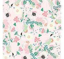 Modern pastel floral handdrawn blush pink Photographic Print