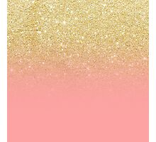 Modern faux gold glitter ombre pink block chic pattern Photographic Print