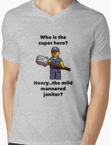 Henry..the mild mannered janitor by #fftw Mens V-Neck T-Shirt