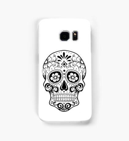 Black and white sugar skull Samsung Galaxy Case/Skin