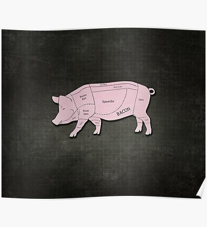 Parts of a Pig with Emphasis on Bacon Poster