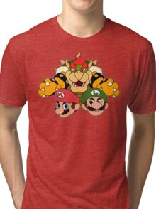 Mario Brothers vs Bowser Illustration Tri-blend T-Shirt