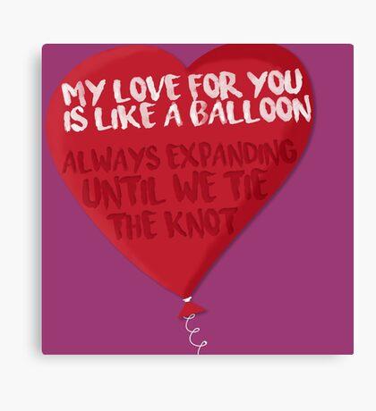 Love is like a Balloon Canvas Print