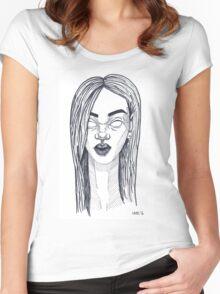 Portrait of Rihanna Women's Fitted Scoop T-Shirt