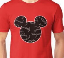 Mickey Filigree - White with black background Unisex T-Shirt