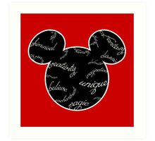 Mickey Filigree - White with black background Art Print