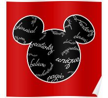 Mickey Filigree - White with black background Poster