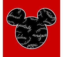 Mickey Filigree - White with black background Photographic Print