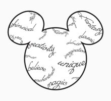 Mickey Filigree - Black with white background Kids Tee