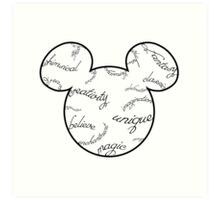 Mickey Filigree - Black with white background Art Print