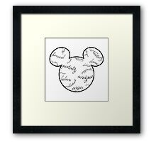 Mickey Filigree - Black with white background Framed Print