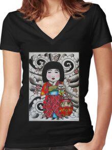 Ichimatsu ningyo, maneki neko and daruma doll  Women's Fitted V-Neck T-Shirt