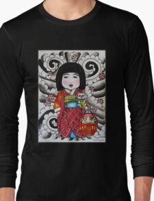 Ichimatsu ningyo, maneki neko and daruma doll  Long Sleeve T-Shirt