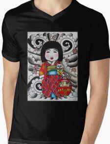 Ichimatsu ningyo, maneki neko and daruma doll  Mens V-Neck T-Shirt