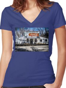 Rabbit Hash Store-Front View Women's Fitted V-Neck T-Shirt