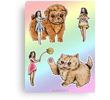 Tiny Pin ups ans Fluffy Pets Canvas Print