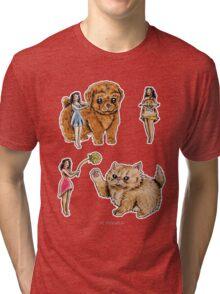 Tiny Pin ups ans Fluffy Pets Tri-blend T-Shirt
