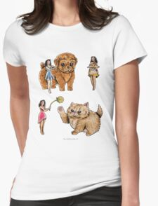 Tiny Pin ups ans Fluffy Pets Womens Fitted T-Shirt