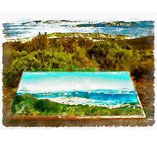 Sardinia: sea landscape and sign map Photographic Print