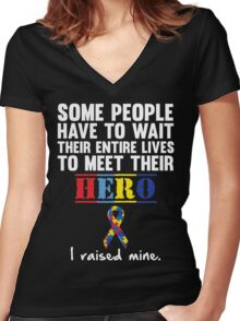 Autism Hero Women's Fitted V-Neck T-Shirt