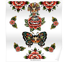 Mexican Dolls Flash, rose doll and butterfly only. Poster