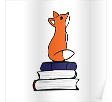 Fox on Books - color Poster