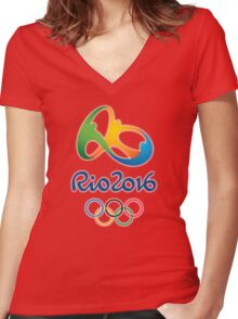 Olympics in Rio 2016 Women's Fitted V-Neck T-Shirt