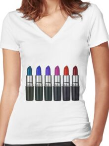 MAC lipstick Women's Fitted V-Neck T-Shirt