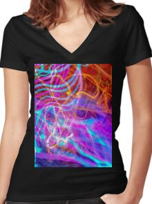 Psychedelic Exposure LED Hoop Women's Fitted V-Neck T-Shirt