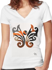 Butterfly Metallic Abstract Women's Fitted V-Neck T-Shirt