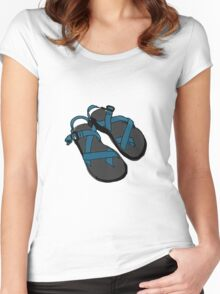 Drawing of Chaco Sandals- Blue Women's Fitted Scoop T-Shirt