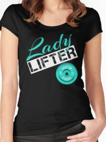 Teal, White & Black Lady Lifter Women's Fitted Scoop T-Shirt