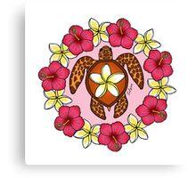 Plumeria Turtle Canvas Print